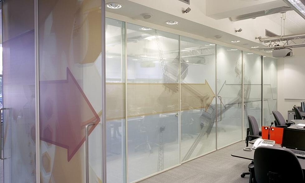 private conferece rooms can be created with frosted glass film