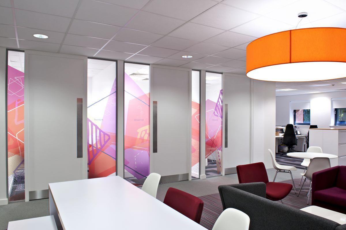Inkjet printable window film in breakout area