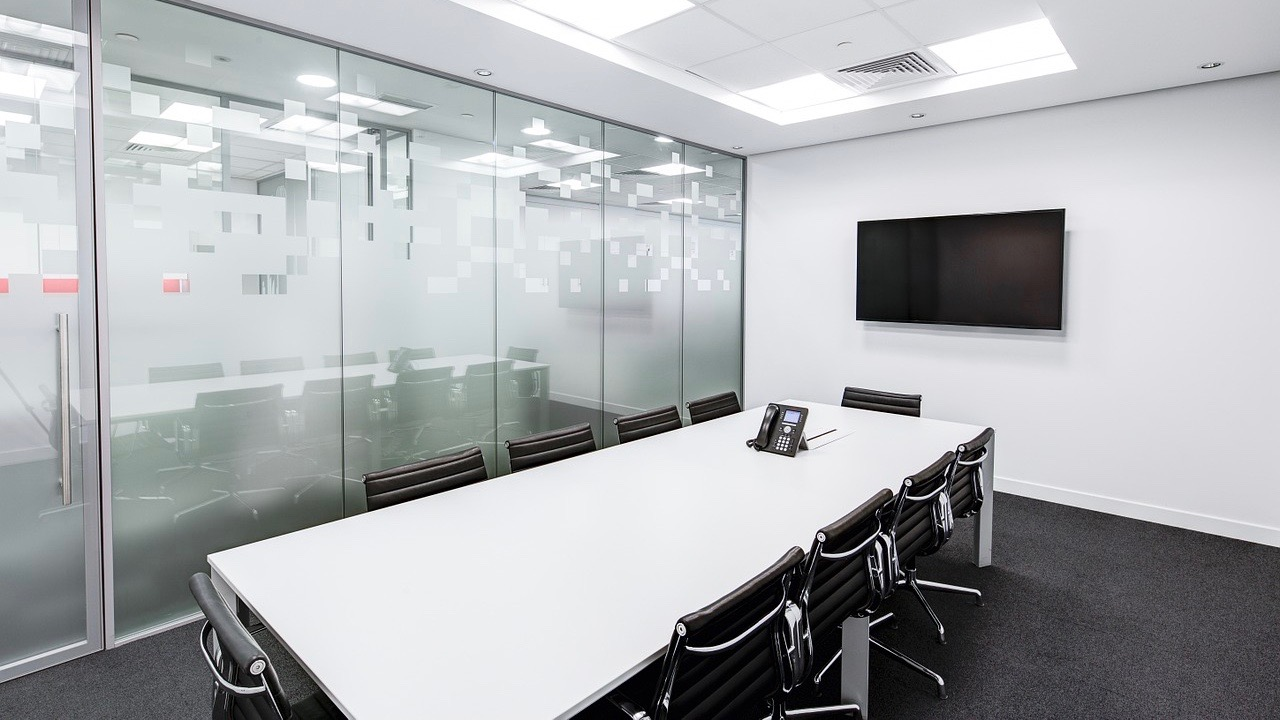 frosted glass in conference room